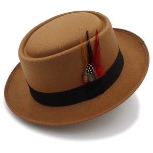 Vintage Wool Flat Fedora Hat
